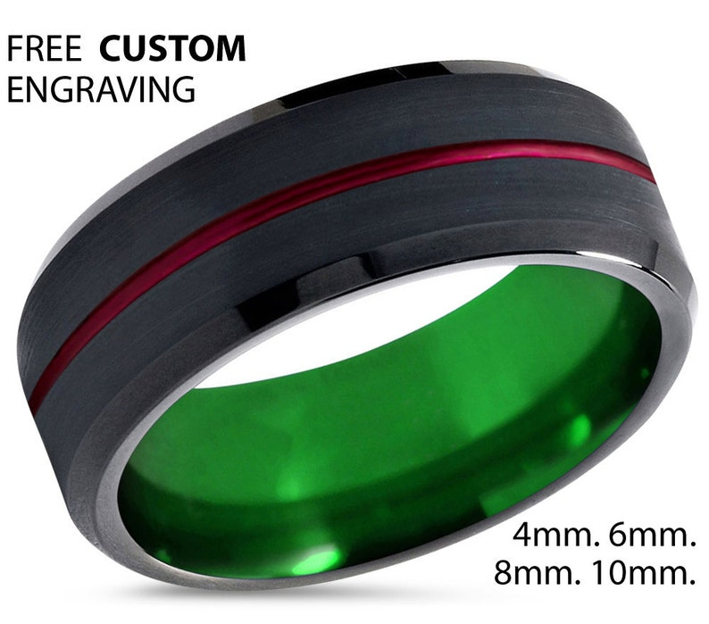 Green Wedding Band 8mm Engagement Ring Black Tungsten Ring Promise Ring Gifts for Him Black Ring Mens Ring Red Wedding Ring