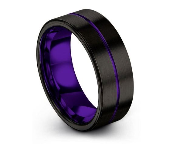 Mens Wedding Band Black 7mm, Tungsten Ring Purple, Wedding Ring, Engagement Ring, Promise Ring, Personalized, Rings for Men, Rings for Women