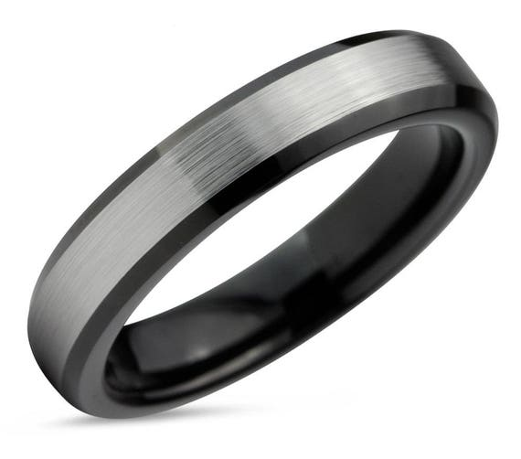 Mens Wedding Band Black, Tungsten Ring Brushed Silver 4mm, Wedding Ring, Engagement Ring, Promise Ring, Rings for Men, Rings for Women