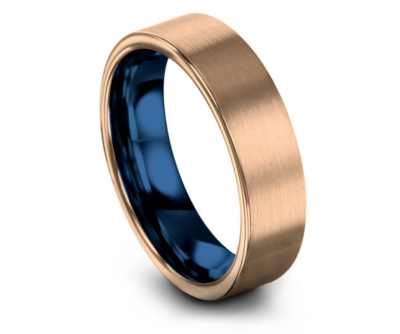 Matching Jewellery Ring, 18k Rose Gold, Blue Tungsten Wedding Band Set, Women Engagement, Rings For Men, Wedding Gifts, Available All Size