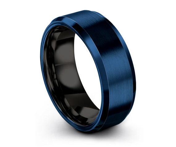 Mens Wedding Band Blue, Tungsten Ring 8mm, Wedding Ring, Engagement Ring, Promise Ring, Rings for Men, Rings for Women, Personalized Ring