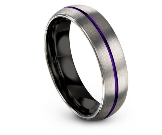 Domed Silver Tungsten Wedding Rings 6mm,Black Wedding Band Tungsten,Center Purple Engraving,His and Hers Rings,Promise Ring,Gift For Her