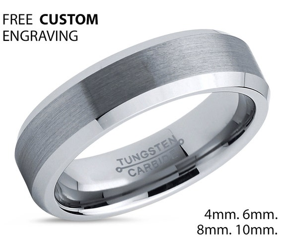 Tungsten Silver Wedding Band, Tungsten Ring, Brushed Polish, Anniversary, Engagement, His,Hers, 6mm Set, Promise Ring, Matching