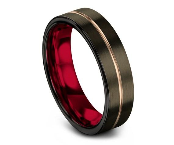 GUNMETAL Tungsten Ring Red | 18K Rose Gold Tungsten Ring | Tungsten Wedding Band Men | Thin Red Line Engraving | Couple Ring | Matching Ring