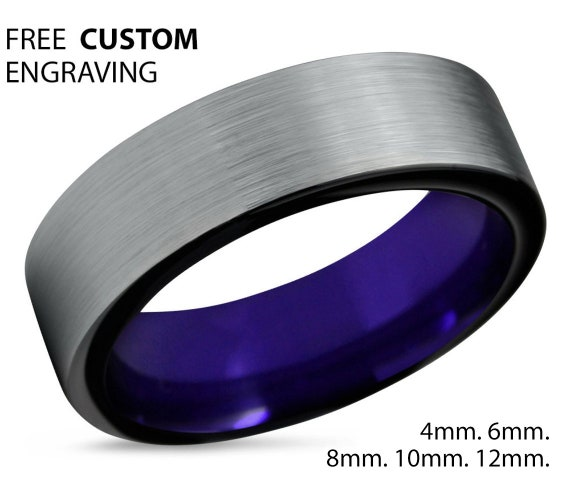 Mens Wedding Band Silver, Tungsten Ring Purple 8mm, Wedding Ring, Engagement Ring, Promise Ring, Rings for Men, Rings for Women, Silver Ring