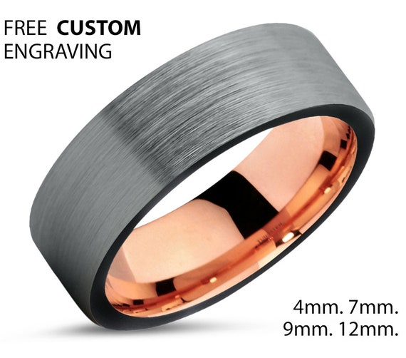 Brushed Silver Black Tungsten Ring Rose Gold Wedding Band Ring Tungsten Carbide 7mm 18K Brushed Ring Man Male Women Anniversary Matching