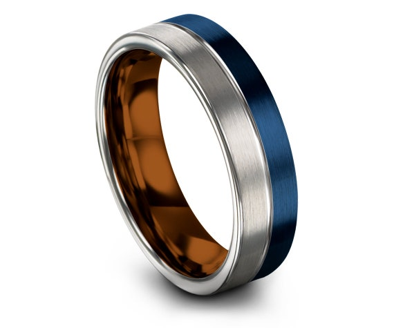 Silver Blue Tungsten Wedding Band | Mens Wedding  Ring | Copper Tungsten Ring | Engraved Ring | Promise Ring Sets | His and Her | All Size