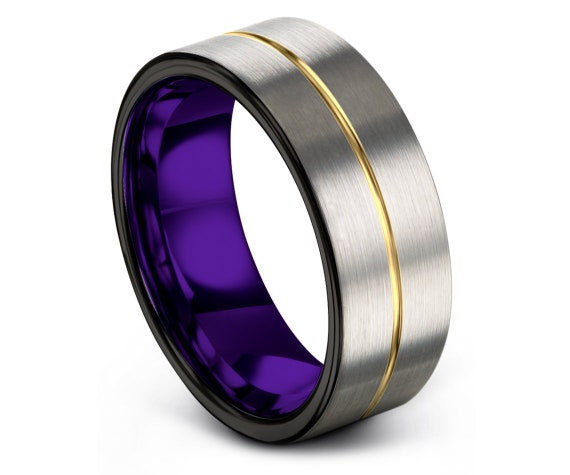 Tungsten Ring Men Purple - Black Gold Ring - Domed Tungsten Wedding Band - Sweet 16 Jewelry - Brushed Silver Band - Fast Free Shipping - 8mm