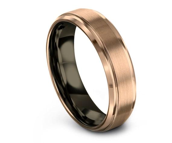 Beveled Tungsten Carbide   Gunmetal Wedding Band   18K Rose Gold Tungsten Rings   Mens Wedding Band   Promise Ring   Gifts For Husband   6MM
