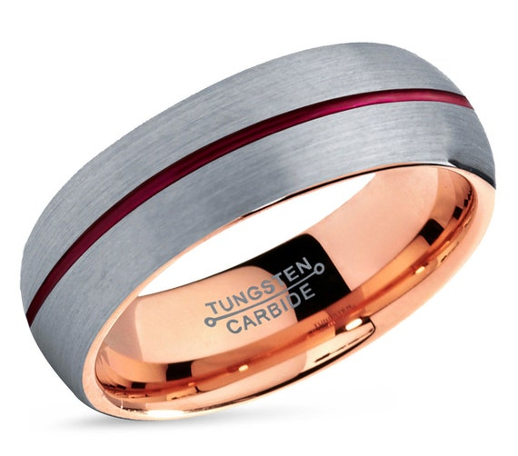 Mens Wedding Band Rose Gold, Brushed Silver Tungsten Ring, Engagement Ring Red, Promise Ring, Rings for Men, Rings for Women