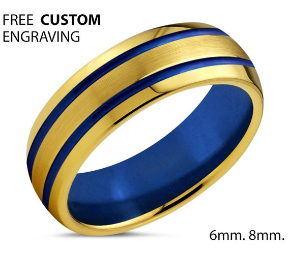 18k Yellow Gold Unisex Wedding Ring with Blue Interior and Double Lines - Tungsten Wedding Ring - For Any Occasion- Free Custom Engraving