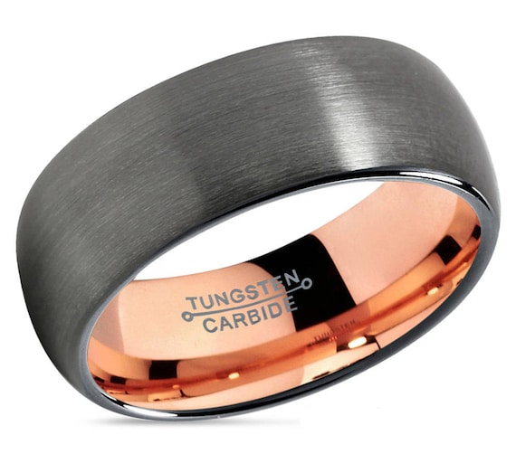 Gunmetal Tungsten Wedding Band,Rose Gold Tungsten Ring,Men & Women,Grey Tungsten Wedding Band,Anniversary Ring Brush F