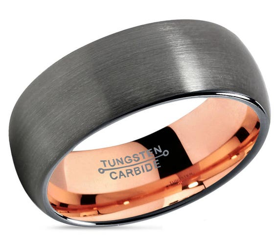 GUNMETAL Tungsten Ring, Mens Wedding Band Rose Gold 18K 8mm, Wedding Ring, Engagement Ring, Promise Ring, Rings for Men, Rings for Women