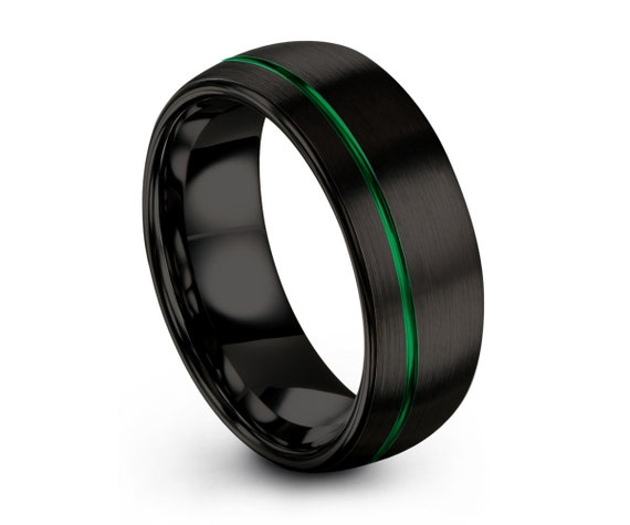 Mens Wedding Band Black, Tungsten Ring Green, Wedding Ring, Engagement Ring, Promise Ring, Rings for Men, Rings for Women, Black Ring