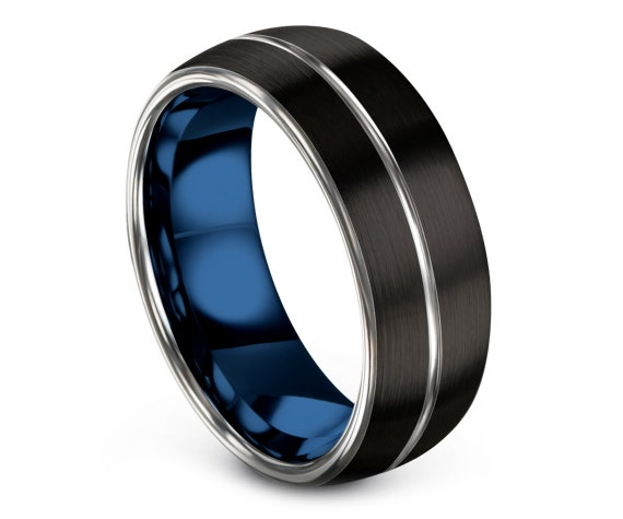 Black Tungsten Ring Men Domed,His and Hers Wedding Band Set,Silver and Blue,Tungsten Engagement Ring,Gifts For Him,Gift For Husband,All Size