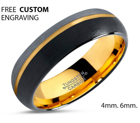 Unisex 18k Yellow Gold Offset 6mm Wedding Band Ring | Two Tone Brushed Silver Black Tungsten Ring | Anniversary, Wedding, Engagement, Gift