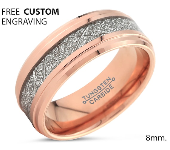 Rose Gold Meteorite Step Beveled Mens Wedding Band | Tungsten Carbide Ring 8mm available | 18K His or Her with Fast Free Shipping