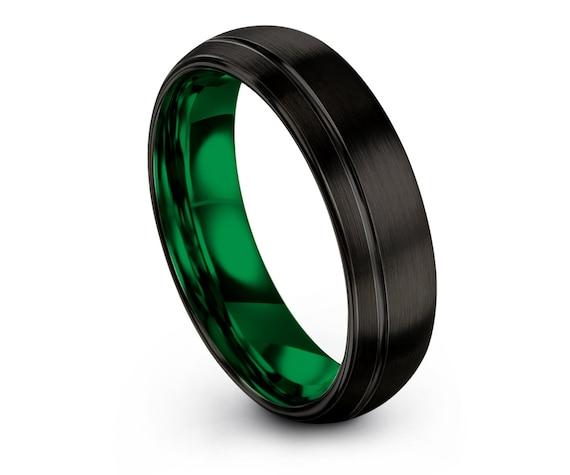Wedding Band Women,Domed Tungsten Ring Set,Black and Green,Tungsten Wedding Band,Promise Band,Rings for Women,Matching Ring,Free Engraving