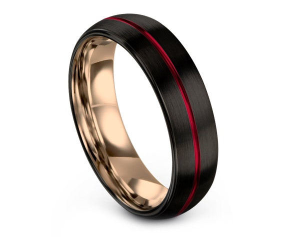 Domed Black Tungsten Wedding Bands   Red Tungsten Carbide Wedding Band Men   18K Rose Gold Ring   Gifts For Couple   Fathers Day Gift