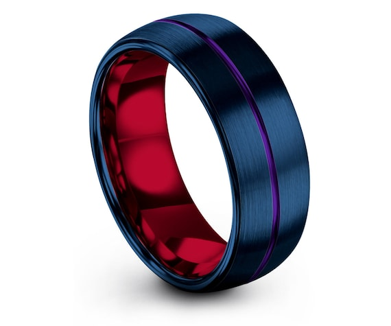 Domed Blue Rings,Mens Wedding Band Tungsten,His and Hers Rings,Purple Line Engraving Ring,Red Engagement Ring,Gifts For Men,Free Shipping