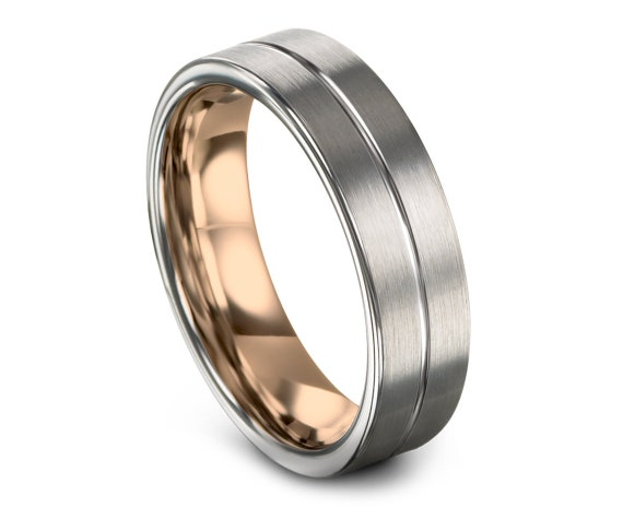 Brushed Silver Tungsten Wedding Ring, His and Hers Wedding Bands Rose Gold, Center Line Engraving, Rings for Men, Best Friend Gifts, Rings