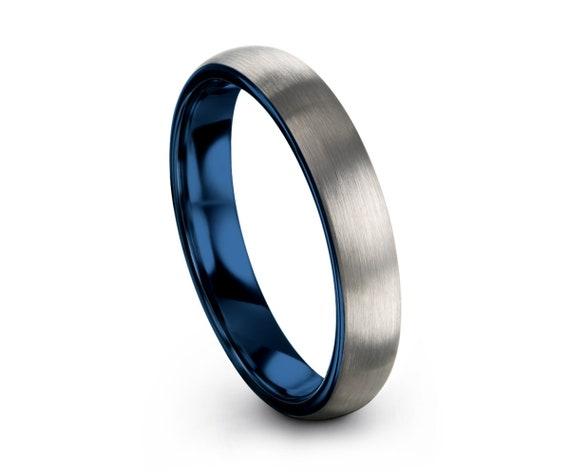 Tungsten Ring Blue, Wedding Ring 2mm 4mm 6mm 8mm, Blue Ring, Engagement Ring, Promise Ring, Rings for Men, Rings for Women, Silver Ring
