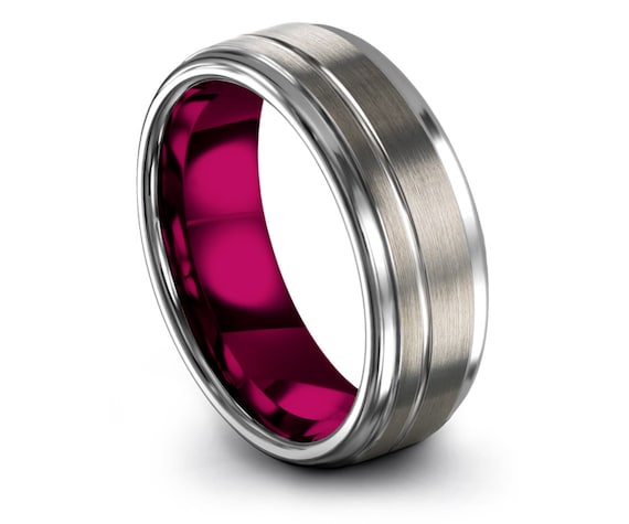 Brushed Silver Band, Inside Pink Tungsten Ring, Offset Line Engraving, Mens Fashion, Wedding Ring Set, Unique Ring, Gifts For Him, Rings 8mm