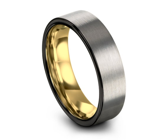 Brushed Silver Black Tungsten Ring Yellow Gold Wedding Band Ring Tungsten Carbide 7mm 18K Tungsten Ring Man Male Women Anniversary Matching