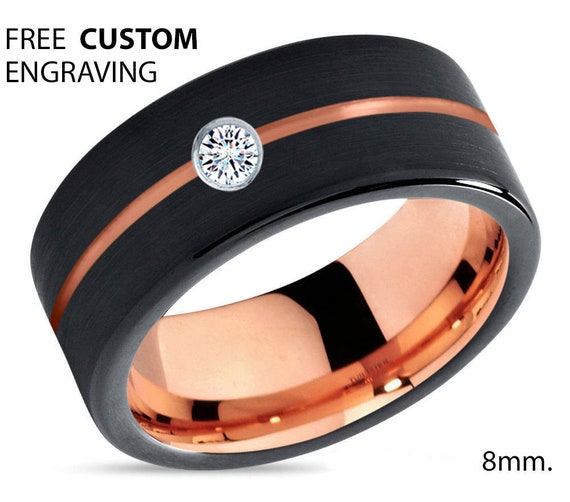 Mens Wedding Band Black, Rose Gold Ring 18K 8mm, Tungsten Ring, Wedding Ring, Diamond Ring, Engagement Ring, Promise Ring, Rings for Men
