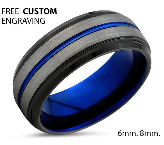 Blue Line Mens Wedding Band, Handmade Personalized Custom Engraving Tungsten Carbide Engagement Jewelry Ring for Him Free Shipping