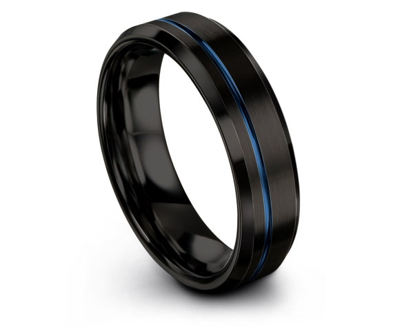Black Wedding Band Beveled,Tungsten Wedding Rings,Tungsten Ring Set,Tungsten Ring 6mm,Offset Line Blue,Gifts For Her,Matching Ring