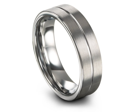Fathers Day Gift Idea,Silver Tungsten Ring,Flat Tungsten Ring,Comfort Band,Center Engraving,His and Hers Rings,Gifts,Gifts For Him,6mm 8mm