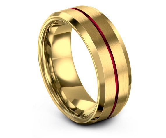 8mm Tungsten Gold Wedding Band,Smooth Polish Beveled Step,His and Hers Rings,Center Red Engraving Ring,Engagement Ring,Personalized Gift