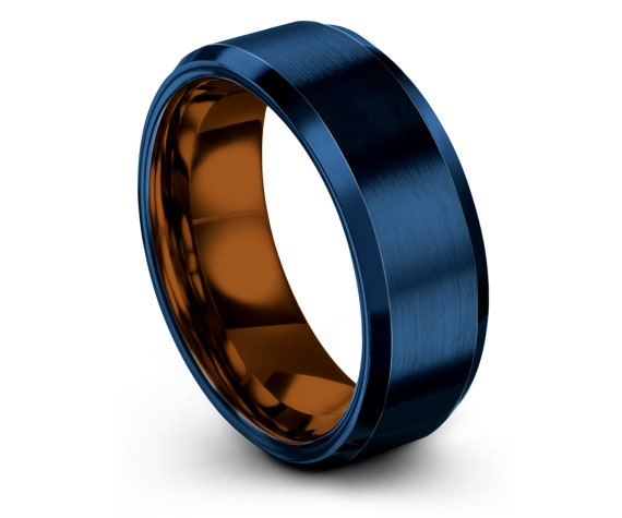 Mens Blue Rings,Blue Wedding Band,Personalized Gifts,Copper Tungsten Carbide 8mm Ring,His and Hers Rings,Gift For Men,Best Friend Gifts