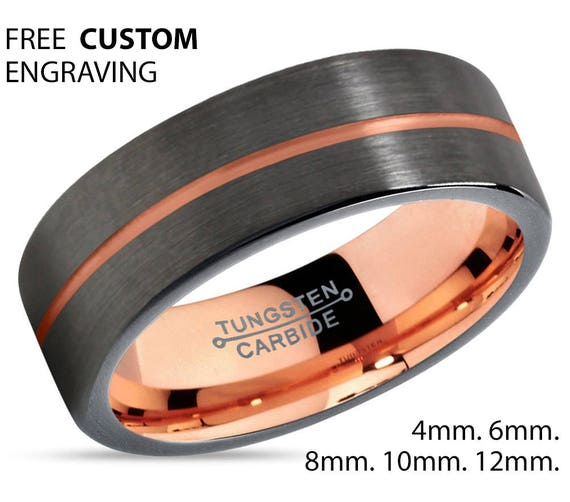 GUNMETAL Black Tungsten Ring Rose Gold Wedding Band Ring Tungsten Carbide 8mm 18K Tungsten Man Wedding Band Male Women Anniversary Matching