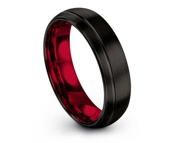 Personalized Ring Domed Black   Fathers Day Gift   Red Inside   Tungsten Engagement Ring   Off Center Engraved Ring   His and Hers Rings