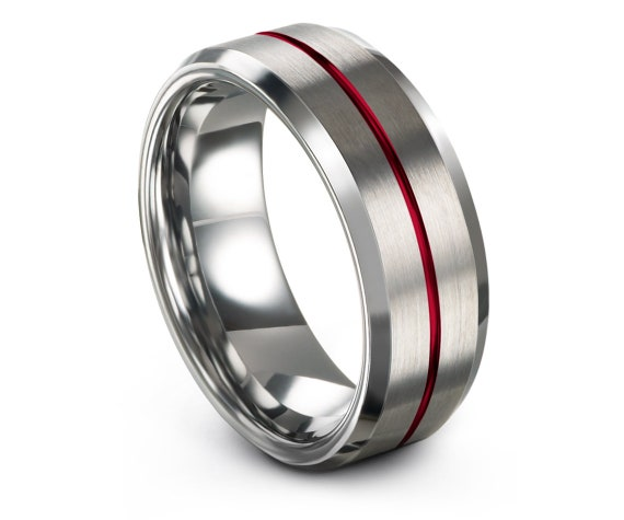 Personalized Gift, Engraved Wedding Band Silver, Center Line Red Engraving Red, Tungsten Ring 8mm, Gifts For Him, Fast Shipping