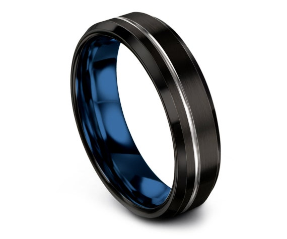 Tungsten Wedding Band Black,Brushed Wedding Band,Silver Blue Tungsten Ring,Off Center Engraving,Engagement Ring,Custom Jewelry,Fine Jewelry