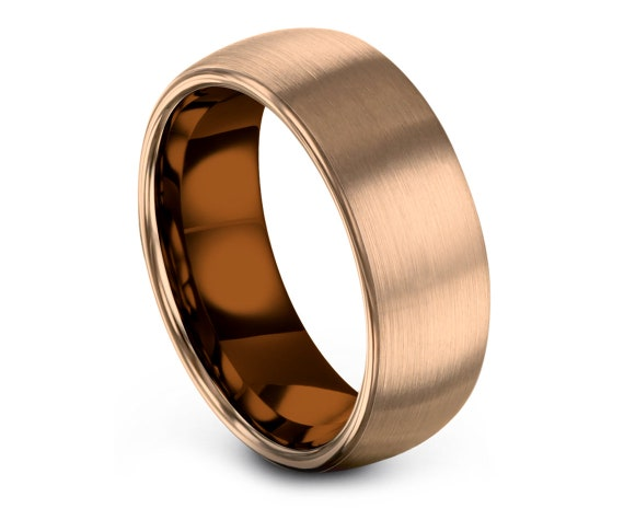 Copper Wedding Band,Domed Rose Gold Tungsten Wedding Bands,Rose Gold Tungsten Carbide 8MM,His and Hers Wedding Bands,Free Shipping