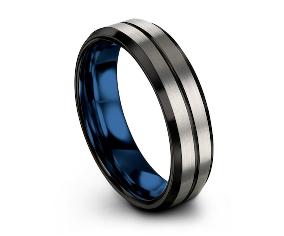 Brushed Silver Black Mens Wedding Band   Tungsten Carbide Ring in Blue 6mm or 8mm available   His or Her with Fast Free Shipping
