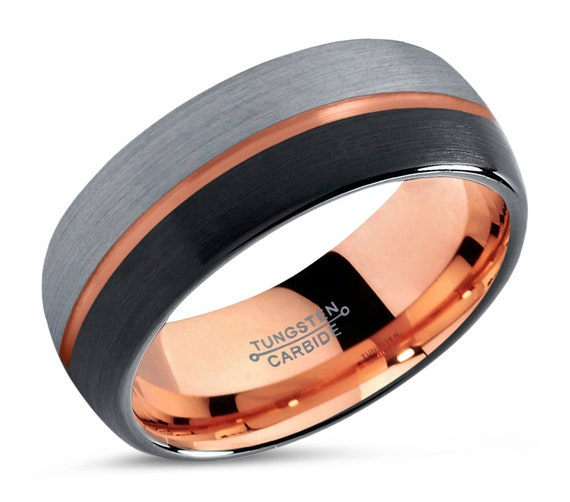 Rose Gold Wedding Band - Unique Two-Tone Tungsten Ring - Free Custom Engraving - Perfect One of a Kind Gift - 8mm or 6mm