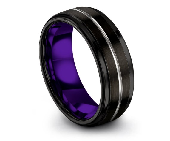 Gift For Her | Black Tungsten Wedding Band | Mens Wedding Band | Inside Purple Ring | Center Engraving Silver | Wedding Gifts | Promise Ring