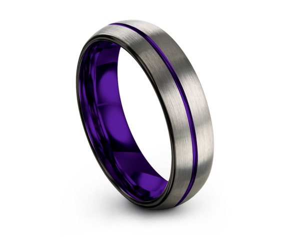 Purple Tungsten Wedding Band Purple Thin Line 4mm Men & Women | Unique Promise Ring | Great Gift Idea