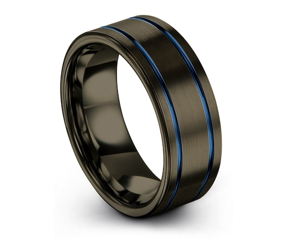 Gunmetal Tungsten Wedding Band with Double Blue Lines   Hypoallergenic Personalized Promise Ring for Men & Women