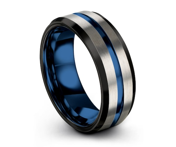 Men & Women Wedding Band | Unique Tungsten Wedding Ring | Thin Blue Line | Modern Blue Promise Ring