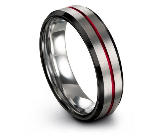 Ring Set, Silver Wedding Band Women, Black Tungsten Ring, Red Engraving Line, Gift For Her, Personalized Gifts, 6mm 8mm Fast Shipping