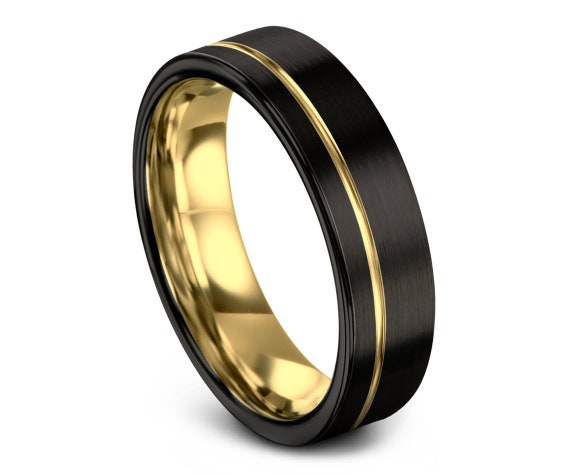 Tungsten Wedding Band Men   Mens Black Ring   Gold Tungsten Ring 6mm   Perfect Gift Idea   18K Gold Ring   Ring For Wife   Free Shipping