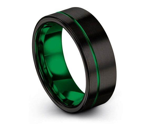 Tungsten Wedding Band Black,Tungsten Ring 6mm,Engagement Ring,Engraved Ring Green,Fathers Day Gift,Comfort Band Size 7,Couple Rings