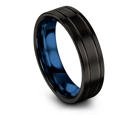 Mens Wedding Band Tungsten Black   Blue Wedding Ring Sets   Tungsten Carbide Ring 6mm 8mm   Engagement Ring   Free Engraving   Gifts for Her