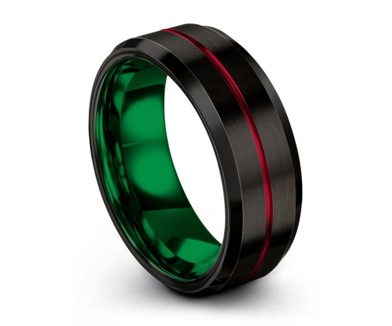 Mens Tungsten Ring, Red Black Green Wedding Band, Tungsten Carbide 8mm, Women, Wedding, Anniversary, Promise Ring, Matching, Engagement